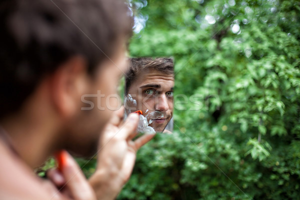 красивой мальчика фото лице зеркало дерево Сток-фото © FotoVika