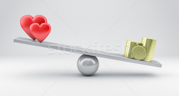 Scales with hearts and money Stock photo © FotoVika