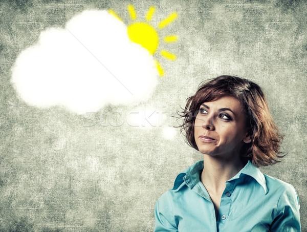 Pensamentos cabeça nuvem beautiful girl mulher menina Foto stock © FotoVika