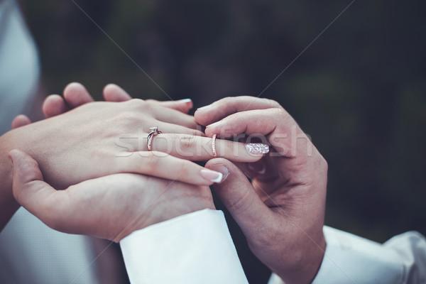 кольцами свадьба красивой золото церемония девушки Сток-фото © FotoVika