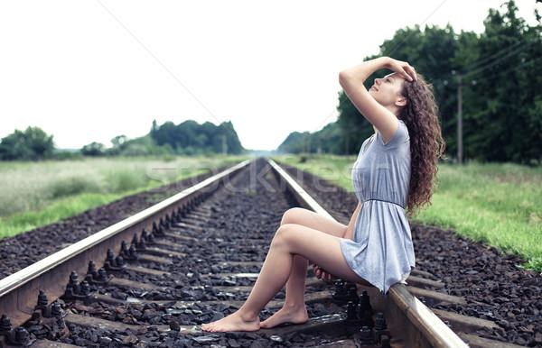 Girl on the railway Stock photo © FotoVika