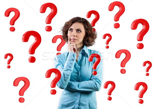Meisje vragen mooi meisje permanente veel Rood Stockfoto © FotoVika