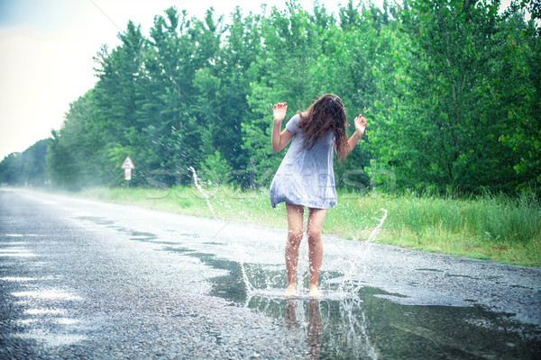 Girl in a puddle Stock photo © FotoVika