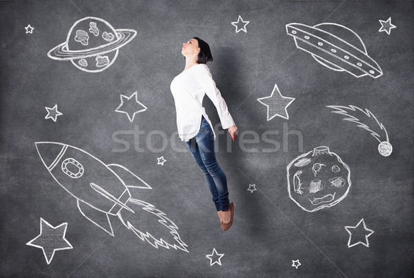 Flying girl Stock photo © FotoVika