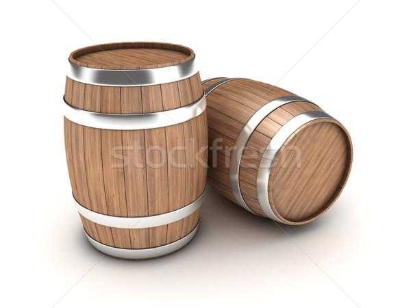 Illustratie twee houten wijn vintage magazijn Stockfoto © FotoVika