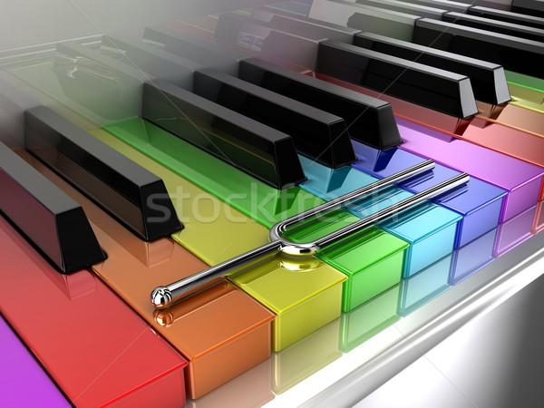 çok renkli piyano örnek gümüş ayar çatal Stok fotoğraf © FotoVika