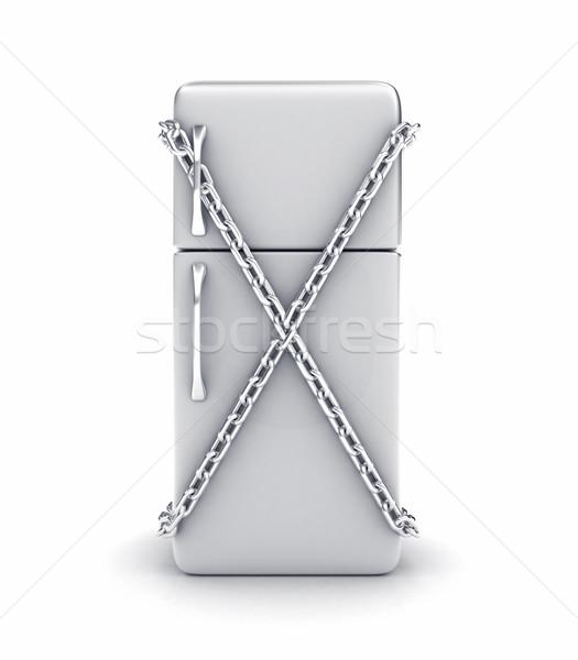 холодильник иллюстрация цепь белый металл кухне Сток-фото © FotoVika
