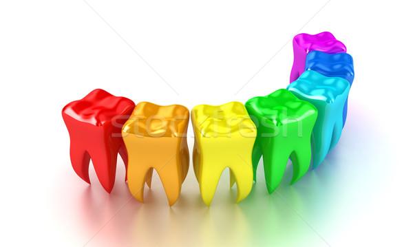 Dişler örnek çok renkli beyaz sağlık Stok fotoğraf © FotoVika