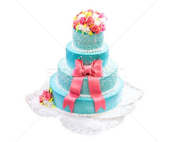 Gâteau de mariage belle blanche fleur fête Photo stock © FotoVika
