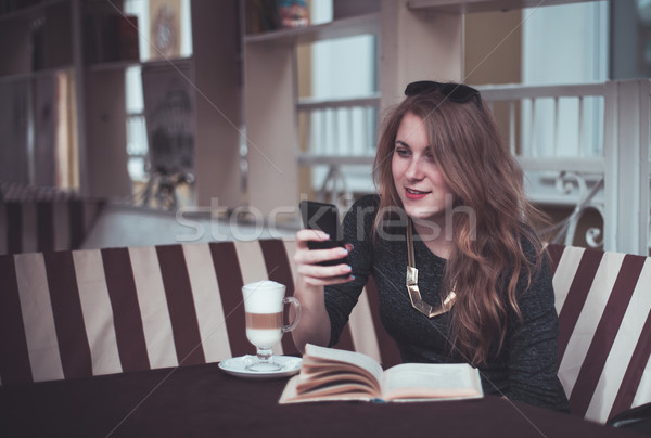 девушки красивая девушка Кубок женщину книга стекла Сток-фото © FotoVika