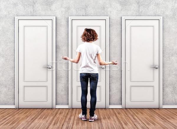 девушки дверей белый страхом неизвестный помочь Сток-фото © FotoVika