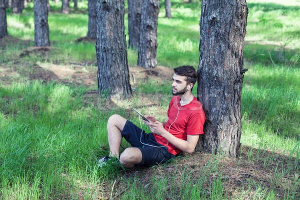 мальчика дерево музыку книга деревья зеленый Сток-фото © FotoVika