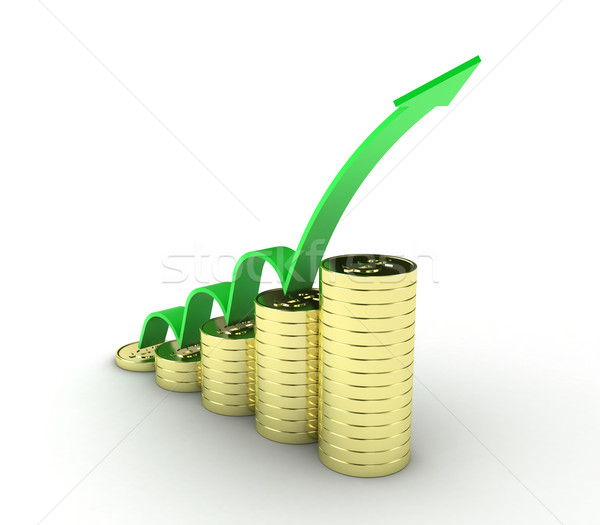 монетами иллюстрация Золотые монеты зеленый стрелка бизнеса Сток-фото © FotoVika