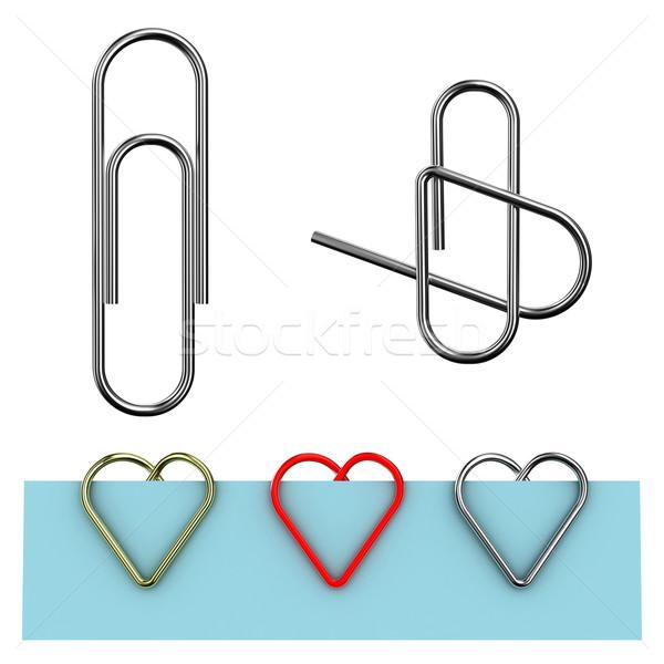 скрепку иллюстрация форме сердце белый бумаги Сток-фото © FotoVika