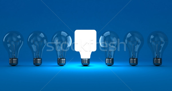 Lampen rij een Blauw licht Stockfoto © FotoVika