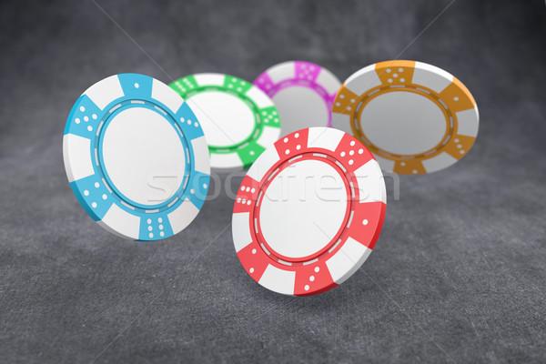 Poker chips illustrazione diverso colore battenti tavola Foto d'archivio © FotoVika