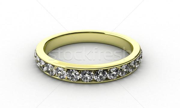 Pierścień ilustracja złota wiele diament piękna Zdjęcia stock © FotoVika