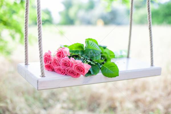 Сток-фото: цветы · Swing · красивой · розовый · цветок · трава