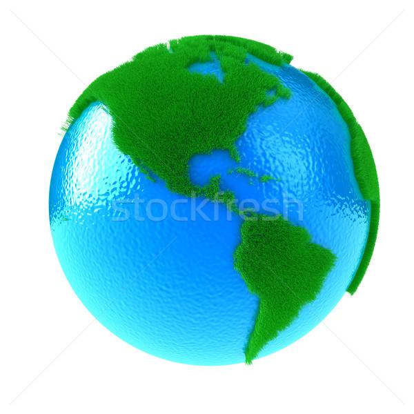Stockfoto: Planeet · aarde · groene · continenten · water · gras