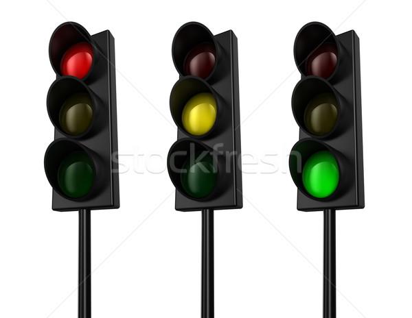 Stoplicht illustratie drie kleuren brand licht Stockfoto © FotoVika