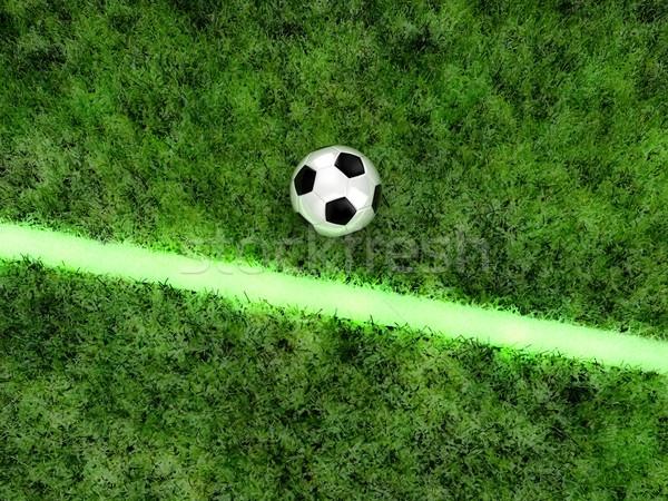 Voetbal bal groene veld witte gras Stockfoto © FotoVika