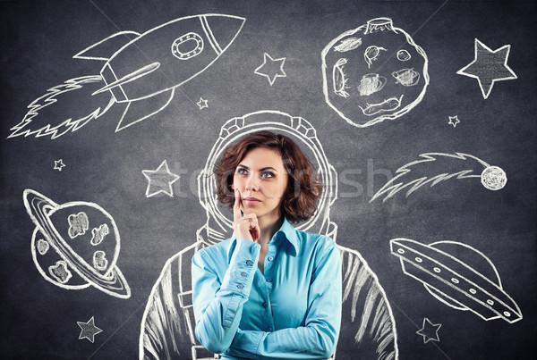 космонавт девушки Мечты луна пространстве костюм Сток-фото © FotoVika