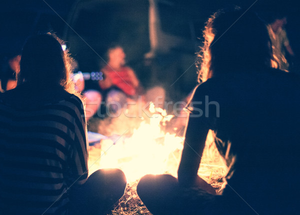 Stock photo: People near a bonfire