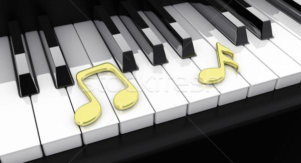 Zongora jegyzetek 3d illusztráció fekete arany billentyűzet Stock fotó © FotoVika
