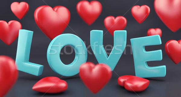Woord liefde harten 3d illustration Rood hart Stockfoto © FotoVika