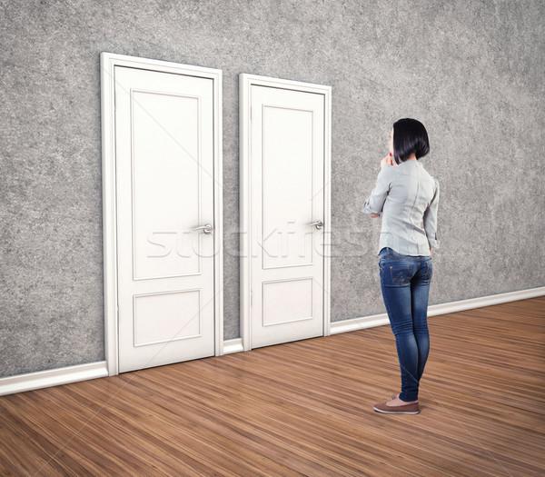Lány ajtók fehér félelem ismeretlen ajtó Stock fotó © FotoVika
