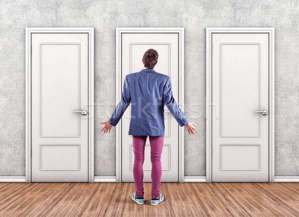 человека дверей белый страхом неизвестный двери Сток-фото © FotoVika