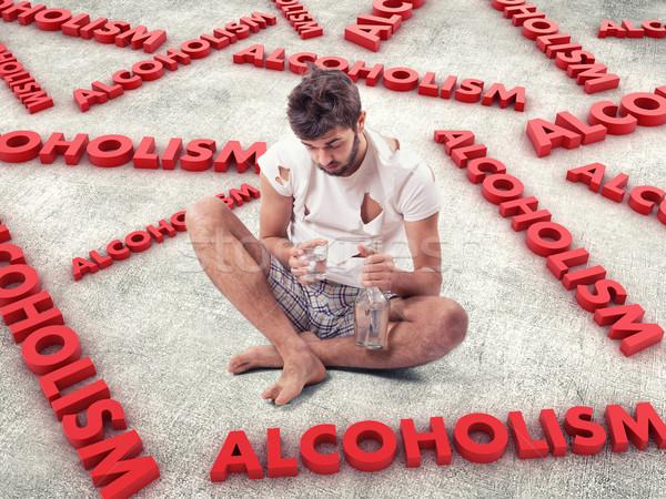 молодым человеком алкоголя бутылку стороны пить печально Сток-фото © FotoVika