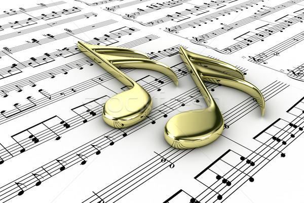 Hangjegyek kettő zenei hang írott jegyzetek ír Stock fotó © FotoVika