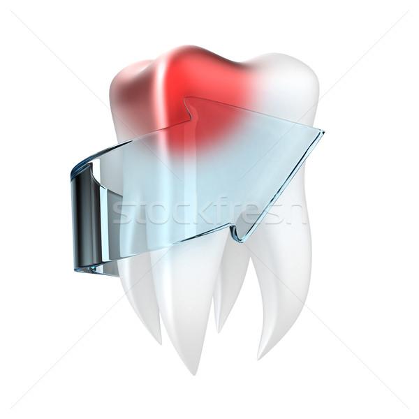 Ludzi zębów ilustracja bolesny arrow biały Zdjęcia stock © FotoVika