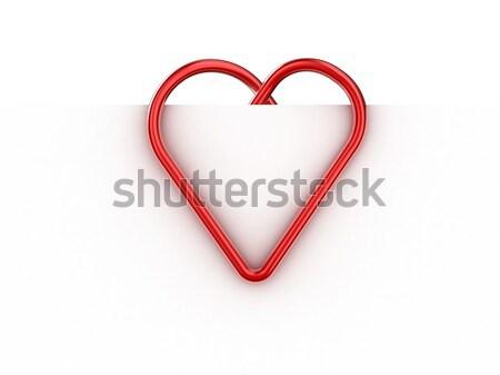 скрепку иллюстрация форме сердце лист бумаги Сток-фото © FotoVika
