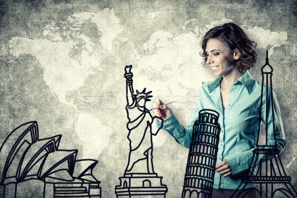 Menina escove foto sorridente desenho diferente Foto stock © FotoVika