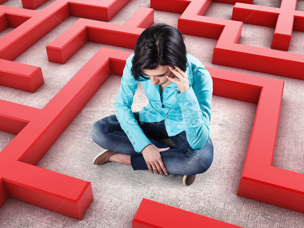Girl in a labyrinth Stock photo © FotoVika