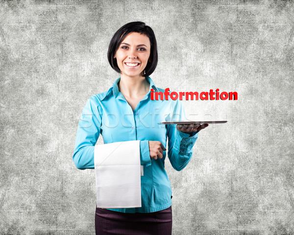 Zdjęcia stock: Dziewczyna · komputera · Fotografia · strony · edukacji · komunikacji