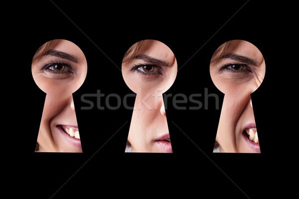 Kız göz anahtar deliği farklı duygular Stok fotoğraf © FotoVika