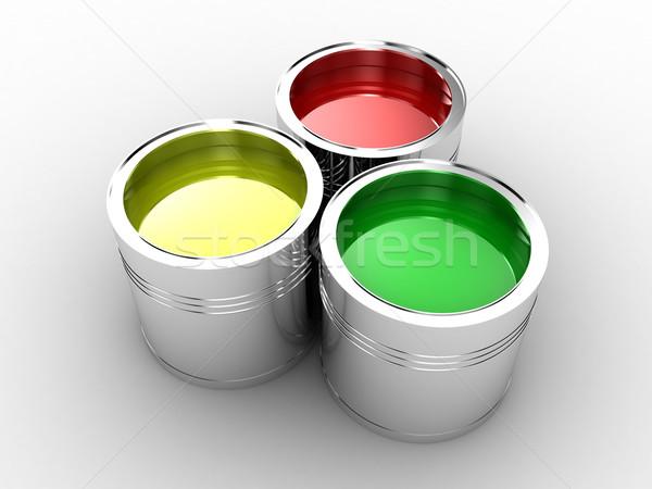 краской Банки различный цветы искусства зеленый Сток-фото © FotoVika