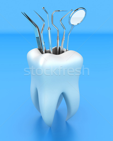 Dentaires outils illustration blanche dents verre Photo stock © FotoVika