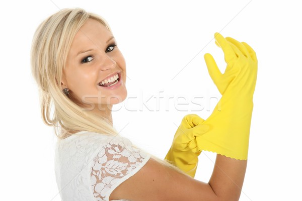 великолепный блондинка домохозяйка желтый красивой Сток-фото © fouroaks