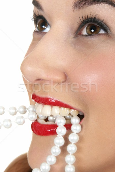Beauty Face and Pearls Stock photo © fouroaks