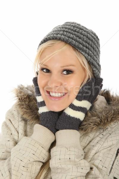 Mulher inverno roupa sorridente jovem Foto stock © fouroaks