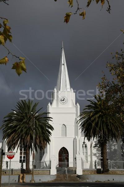 Nyilvános épület tájékozódási pont templom épület viharos égbolt Stock fotó © fouroaks