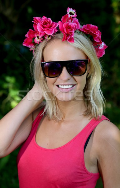 Lovely Young Blonde Lady with Garland of Flowers Stock photo © fouroaks