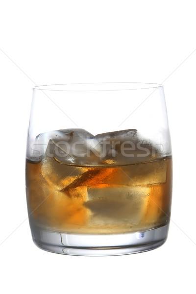 Whiskey brandewijn ijs glas whisky witte Stockfoto © fouroaks