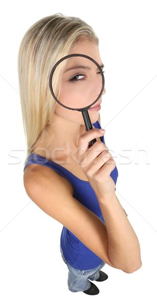 かなり 探偵 女性 若い女性 虫眼鏡 孤立した ストックフォト © fouroaks