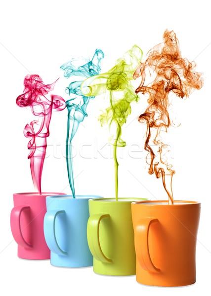 Coffee or Tea Mugs with color steam Stock photo © fouroaks