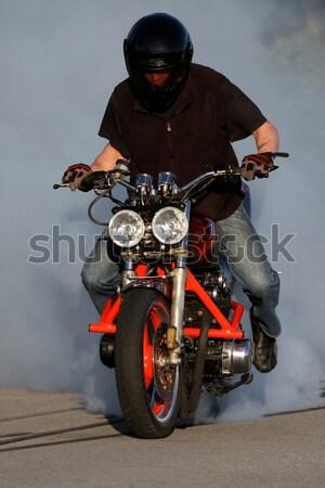 Motorbicikli kiégés vám bicikli égő hát Stock fotó © fouroaks